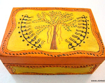 Box Handmade Indian handicraft with Tribal Warli Painting from Maharashtra in West India