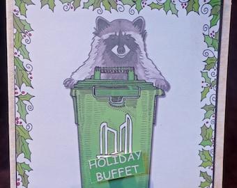 "Raccoon Trash Can / ""Happy Stinking Holidays"" / Toronto Green Bin / Holiday Buffet"