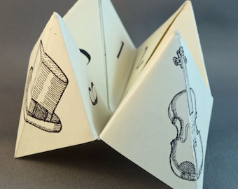 Cootie Catchers with humorous fortunes - Classic Game and also a Sherlock Holmes themed Cootie Catcher