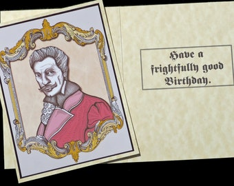 """Vincent Price Birthday Card """"Have a frighteningly good Birthday"""""""