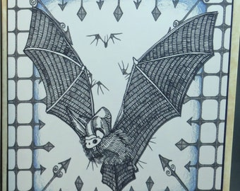 Birthday Card - Bat; Vampire Bat