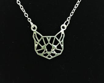 Geometric Cat Necklace \\ Silver Jewelry \\ Silver Chain
