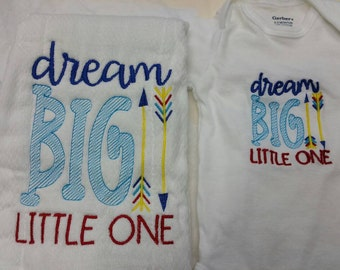 Dream big little one onesie and burp cloth gift set for baby boy