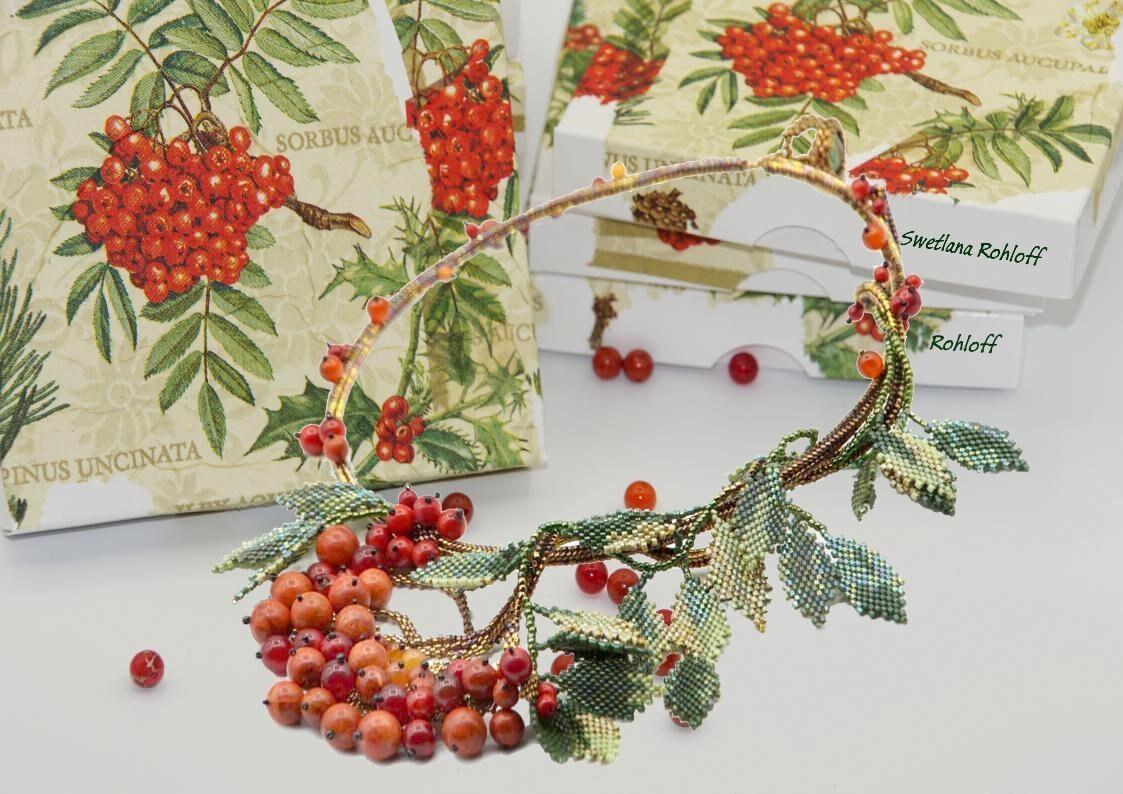 KIT de bricolage et tutoriel pour le collier «Grappe «Grappe «Grappe Ashberry». Instructions et matériel mis «C'est l'automne» 493a3a