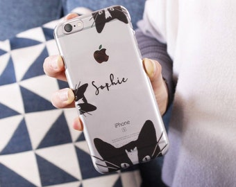 Cat iPhone Case - Personalised iPhone Case - Birthday Gift For Her - Transparent Phone Case - Name Phone Case - Clear Cat iPhone Case