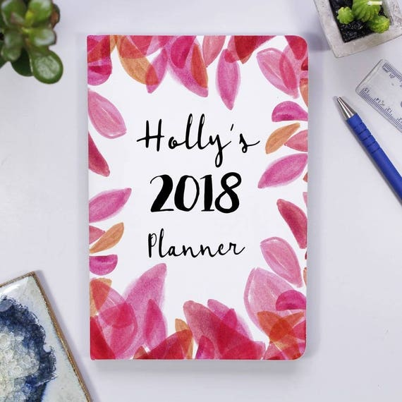 Pink Petal Personalised Notebook Tilly Large