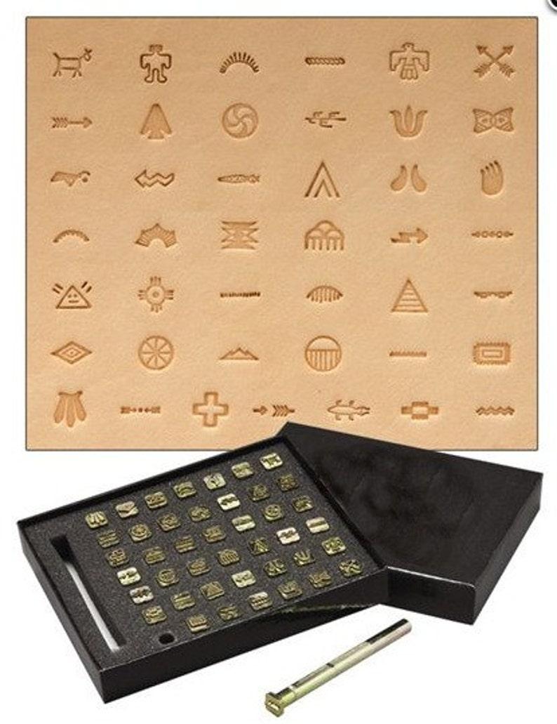 Native American Symbol Leather Stamp Set 43 Tools Handle