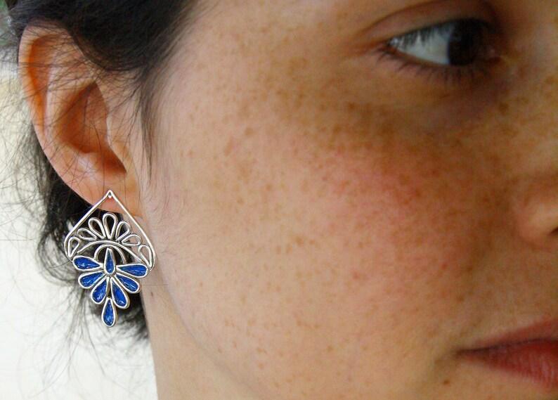 Silver Post Earrings-Blue Earrings-Wire Earrings-colored earrings-Multicolor earrings gift for her-Silver earrings
