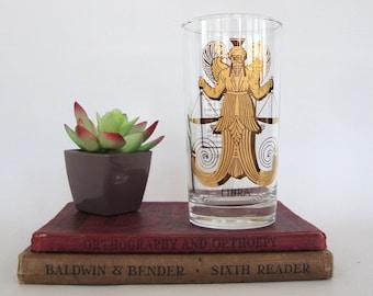 Vintage Libra Highball Drinking Glass Astrology Zodiac Sign Glassware