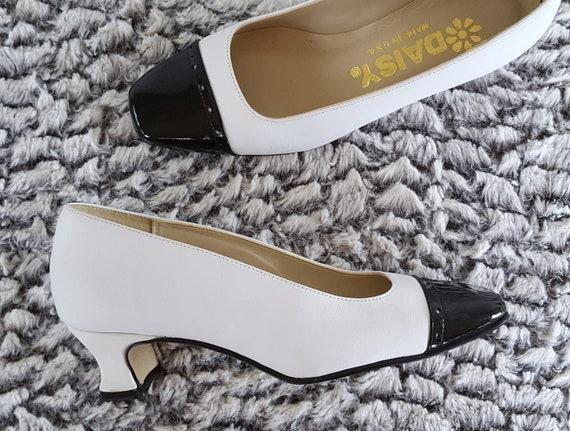 64868d13c7f Size 4 Vintage Cap Toe Black and White Spectator Shoes Patent