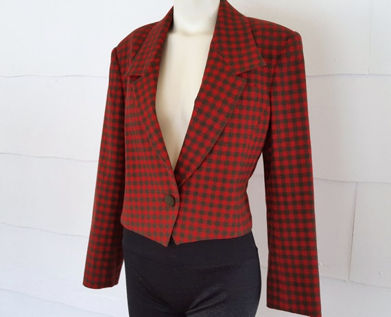 Vintage 1990s Checkered Wool Blazer Cropped Wool J