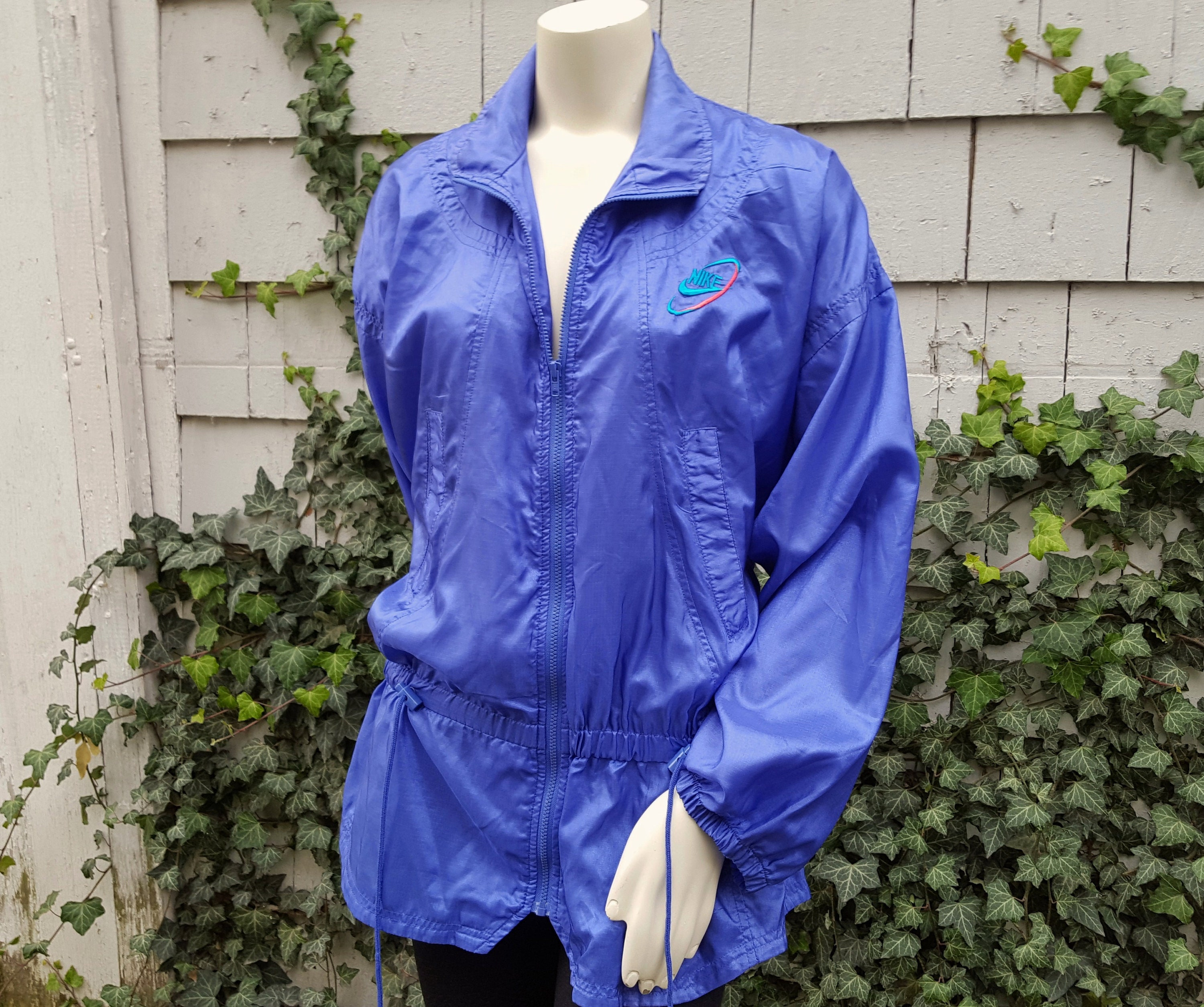 b964df7b Vintage 90s Nike Windbreaker Jacket Purple Blue Nylon LONG Lightweight Lady  Footlocker Exclusive Athletic Street Wear Swoosh Logo 1990s