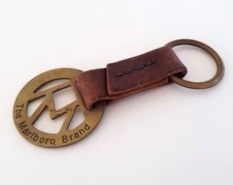 Vintage Marlboro Distressed Leather Brass Key Chain Key Fob Ring Marlboro Cigarettes Keychain