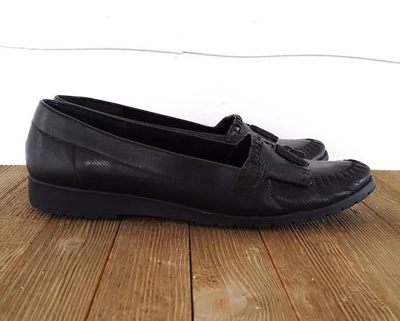 10 enfiler cuir Casual 90 en taille noir Kiltie Cuddlers minimaliste Mocassins fabriqu Cobbie pompon ballerines s S0ntwqx