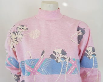 90s Pastel Cat Sweatshirt Turtleneck Cats Playing with yarn All Over Print Pink Blouse GITANO Crazy Cat Lady