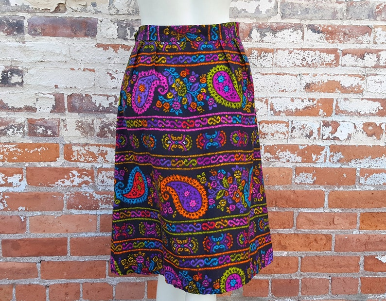 128a49f39b250b FuNkY 70s Bright Floral Paisley Midi Skirt Psychedelic Neon | Etsy