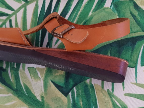 Size in Strappy USA 1970s 70s Low NARROW Naturalizer Wedge Hippie Boho Wooden Sandals Brown 9 the Leather Made wAYx6AqZ7