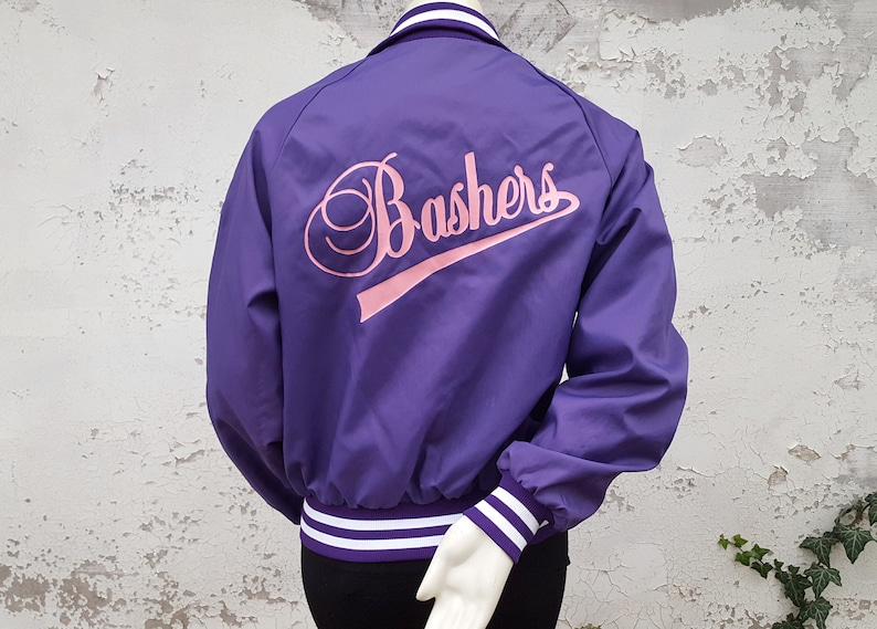 80s Bashers Jacket Athletic Team Bomber Purple Pink Nylon Varsity Coat  1980s Don Alleson Union Made in the USA