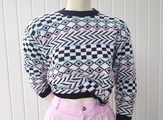Vintage 80s Geometric Knit Sweater Pastel Black And White Etsy