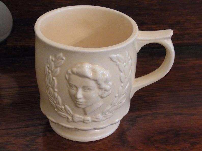8acd0e2777ca Queen Elizabeth 1953 Coronation Cream Staffordshire Mug 1953 Queen  Elizabeth Coronation Collectible Ceramic Cup 1953 Coronation Souvenir