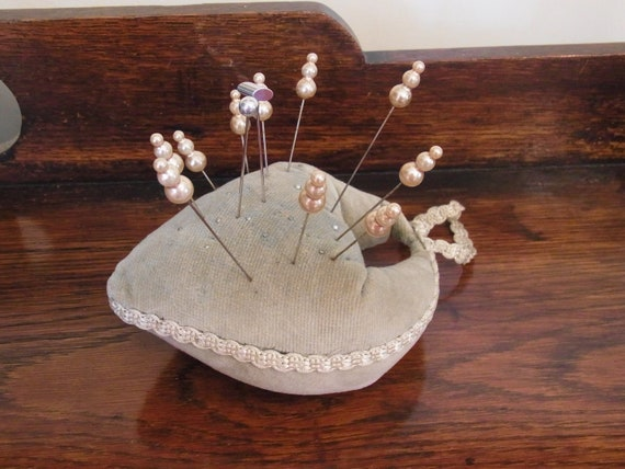 Vintage handcrafted heart shaped pin cushion 12 as