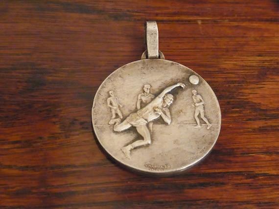 Vintage White Medal French Sports Medallion 1930s