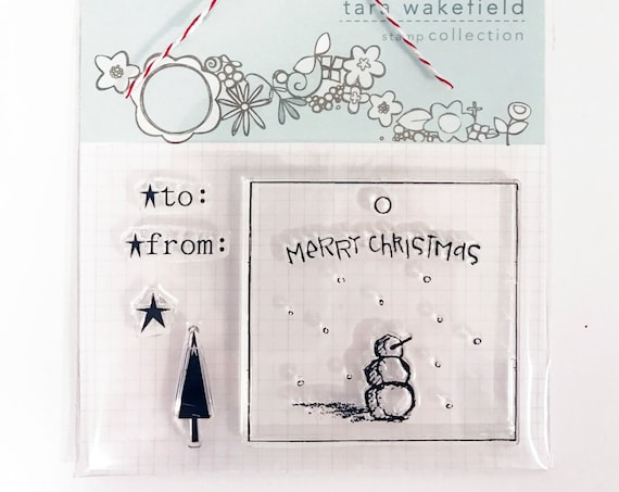 Snowman tag - clear stamp for papercrafting