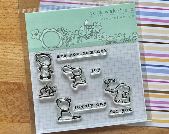 Animal clear stamps for paper crafting // cute phrases // stamp set // card making