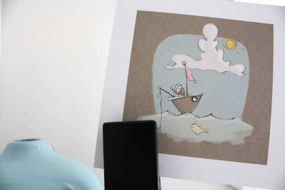 "illustration print // children's art // sailor and boat // sunny sailor // 8 x 8"" // wall art"