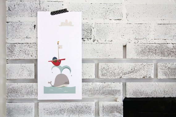 illustration // whale and boat print // nursery // children