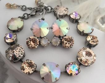 Swarovski Crystal Cluster Earring, Cream, Ivory Dangle Drop Earring, Champagne Bridal Earrings, Blush Bridal Earrings three stone AFTERGLOW.