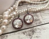 Silver and Pink, Large Drop Earrings, Rivoli Cut, Swarovski Earring, Designer inspired, Crystal Halo Earring, Bridal earrings, Bridesmaid