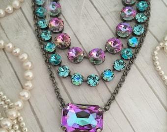Large Swarovski Crystal Emerald Cut, Rectangular, Single Stone, Statement Necklace. Lt. Vitrail, Purple, Violet, Turquoise Blue.