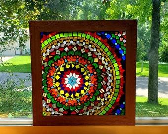 Stained Glass Mosaic - Beaded Rainbow Geometric Mandala