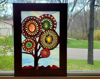 Stained Glass Mosaic - Small Autumn Beaded Mandala Tree