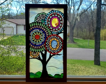 Stained Glass Mosaic - Small Multicolor Beaded Mandala Tree