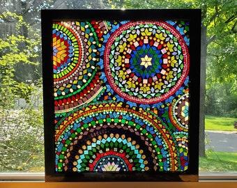 Stained Glass Mosaic - Large Rainbow Geometric Mandala