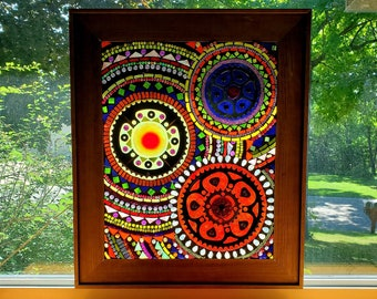 Stained Glass Mosaic - Large Gear-themed Mixed Media Mandala