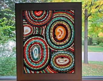 Stained Glass Mosaic - Large Multicolor Geode Centered Mandala