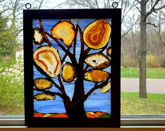 Stained Glass Mosaic - Tree of Autumn Colored Agates