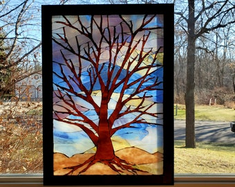 Stained Glass Mosaic - Evening Tree in Winter