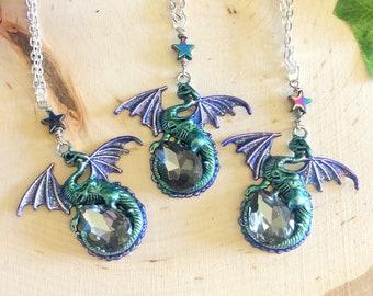 resin crystal owl skull crystal necklace full moon Owl Magic bones