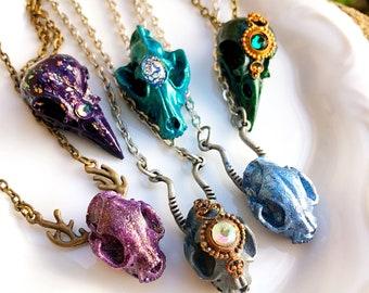 8a5ee49c2 Fantasy Skull Pendant Bird Skull Necklace Cat Skull Necklace Faux Taxidermy  Jewelry Fairy Skull Necklace Gothic Fantasy Jewelry