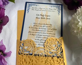 Disney Beauty and The Beast Invitations. Disney Wedding Invitations, Disney Birthday or Bridal Shower Invitations