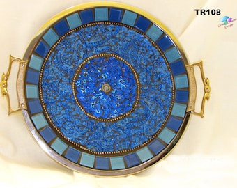 Blue Mosaic Tray Handmade Mosaic Silver Tray Make a Beautiful Gift TR108
