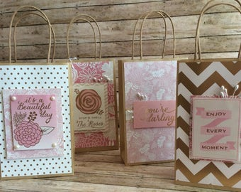gift bags, decorated, pink and gold,