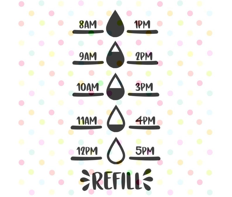 Water Tracker Refill SVG, Instant Download, Cricut and Silhouette Water  Bottle Fitness