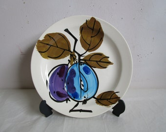Vintage 60s Vera Salad Plate Forbidden Fruit Hand Painted Island Worcester 1960s Dinner Ware Blue Plum Pattern Made in Jamaica