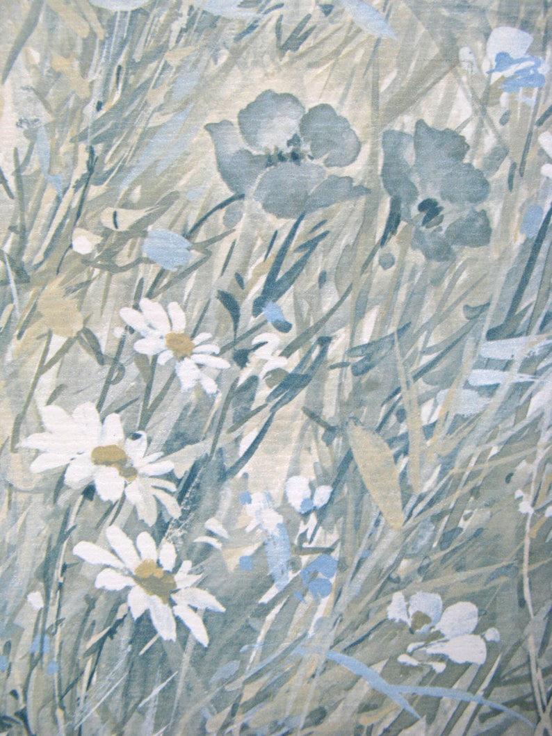 Vintage 80s Sunworthy Vinyl Blue White Field Floral Vine Paper Etsy