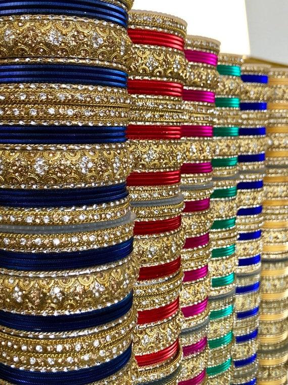 Jewellery Metal Kundan|Set For 2 Hands|34 Bangles 10 Colours Teej Eid Diwali Karwachauth Indian Bangles Set